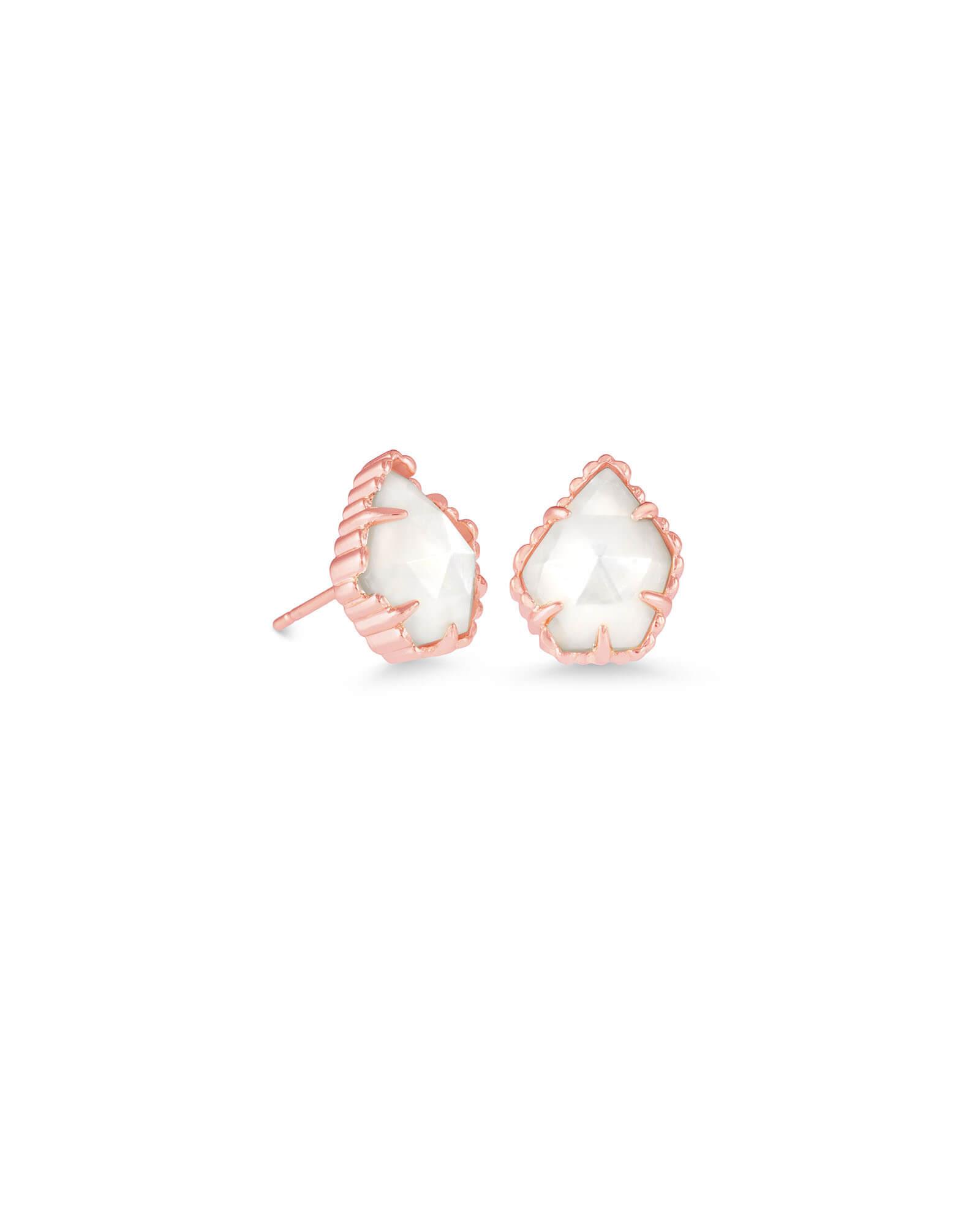 5992a180b Tessa Rose Gold Stud Earrings in Ivory Pearl   Kendra Scott