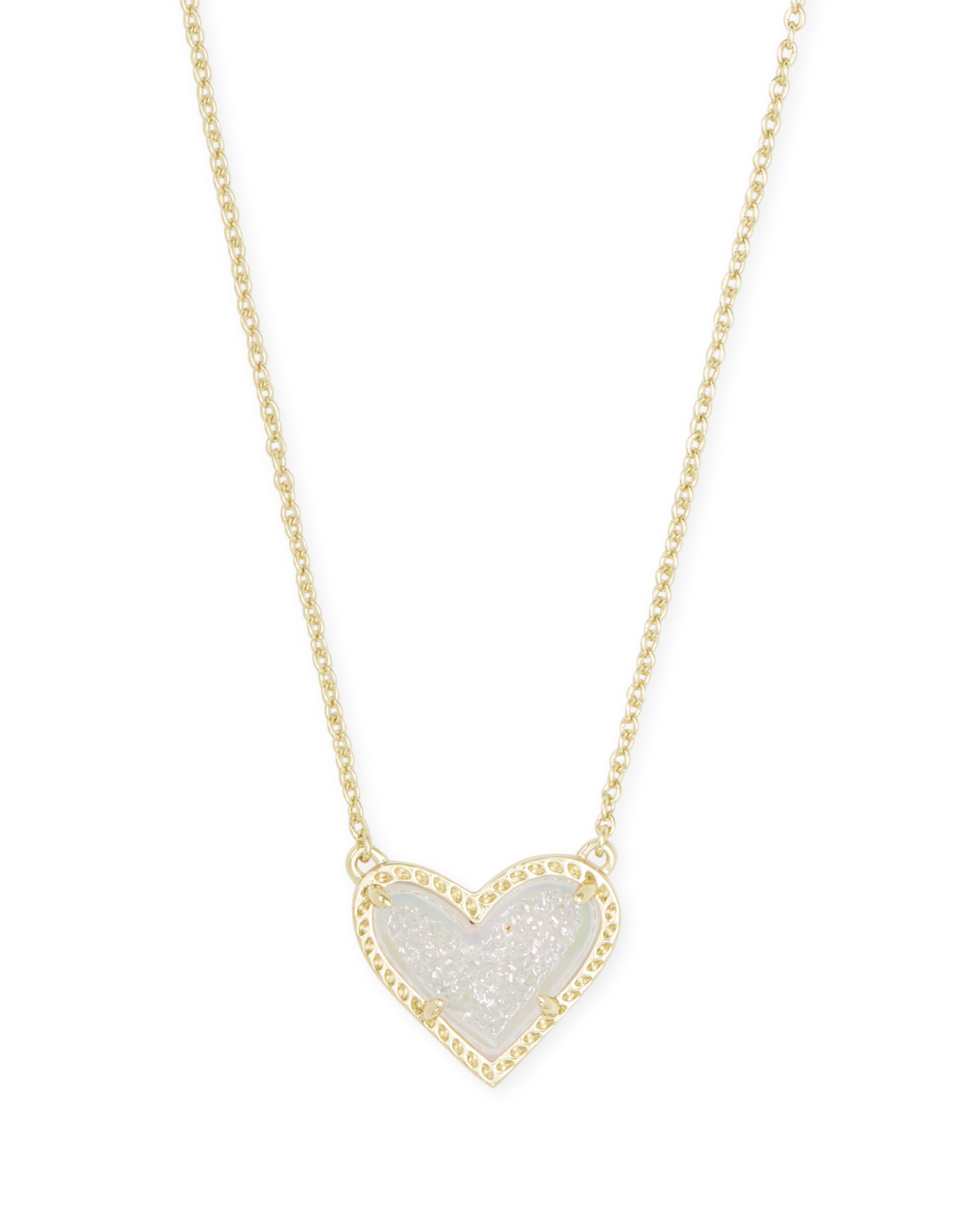 Ari Heart Gold Short Pendant Necklace In Iridescent Drusy by Kendra Scott