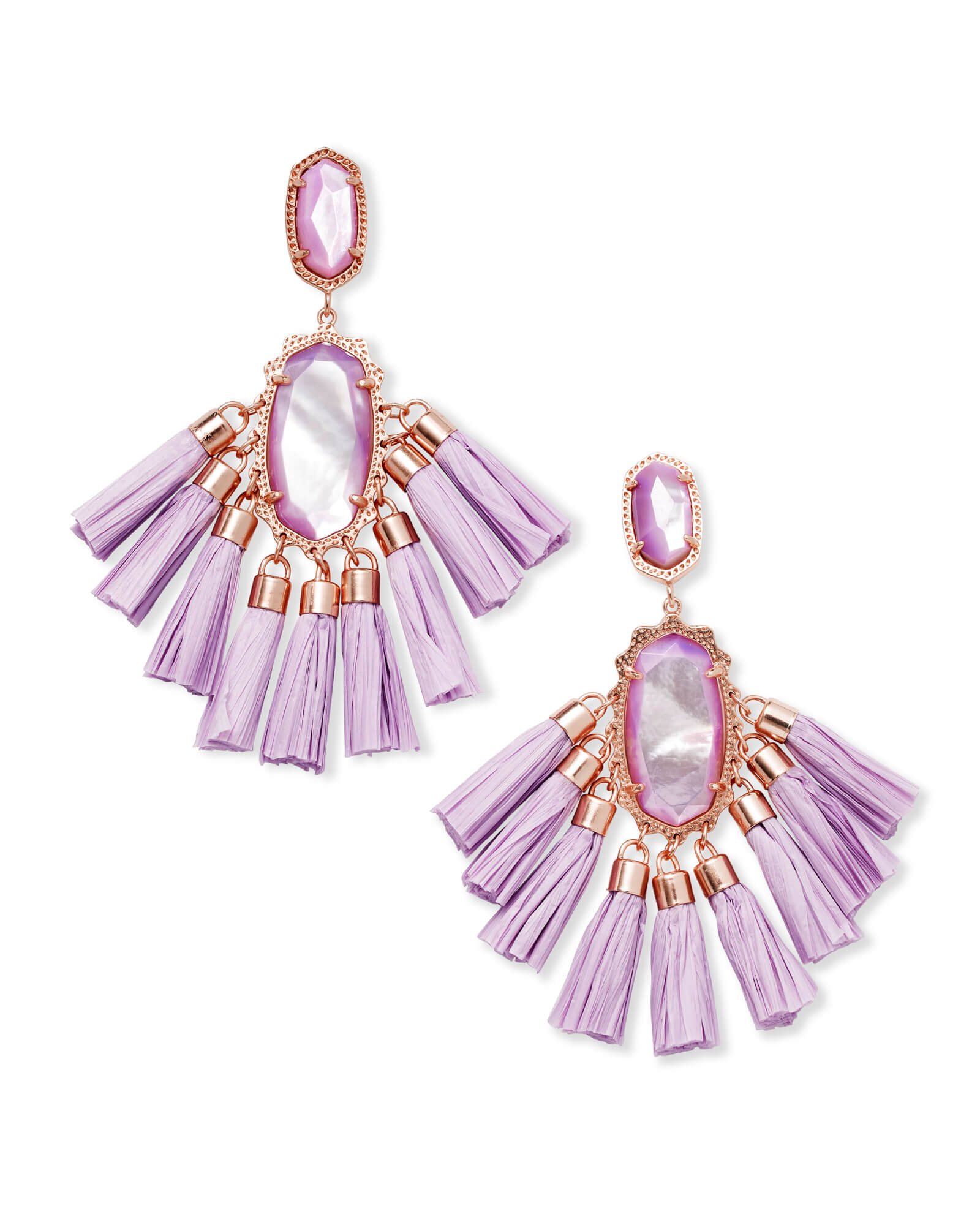 Kristen Rose Gold Statement Earrings In Lilac Mother of Pearl