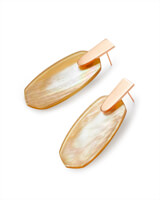 Aragon Rose Gold Drop Earrings in Brown Mother-of-Pearl
