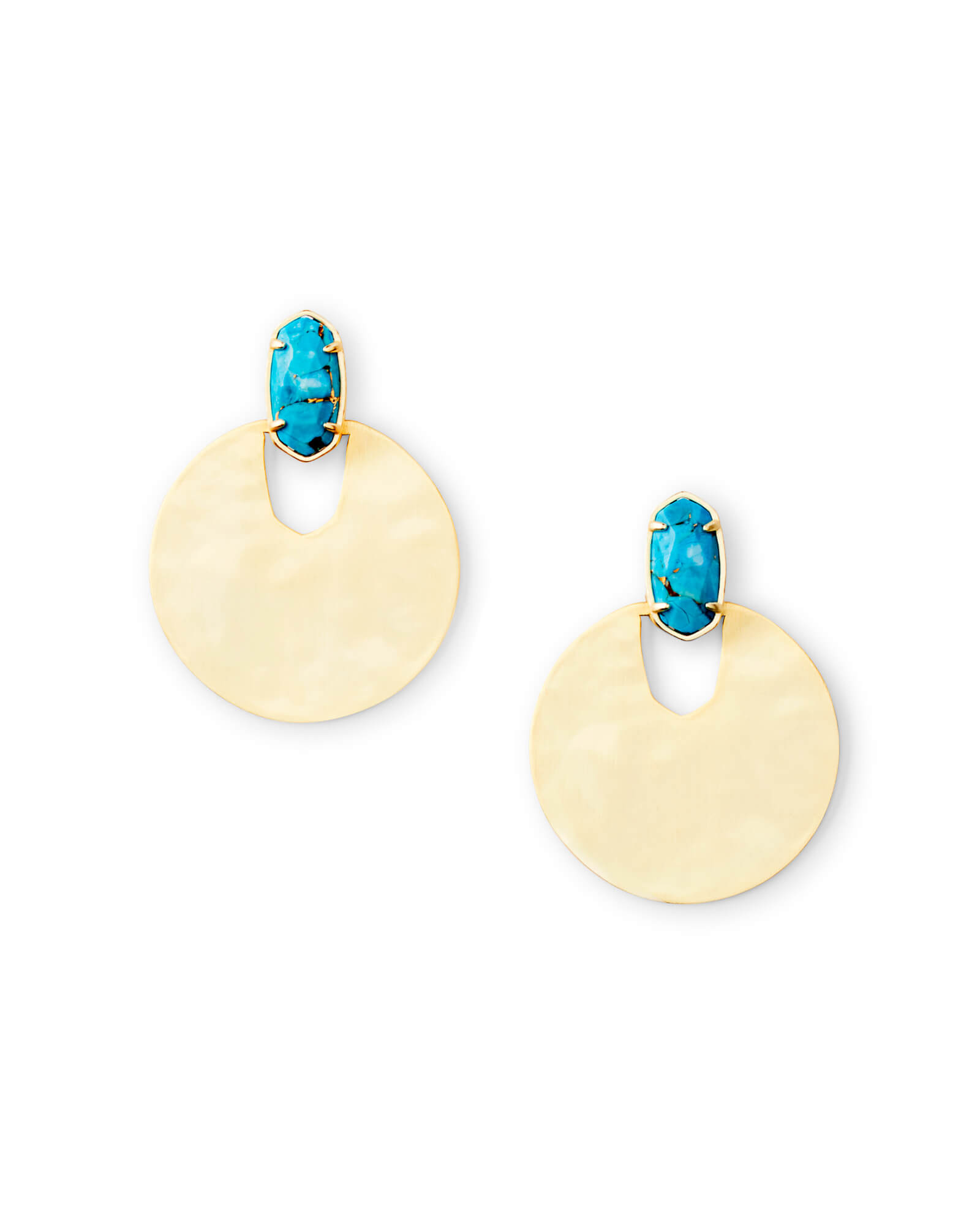 Deena Gold Drop Earrings in Bronze Veined Turquoise Magnesite