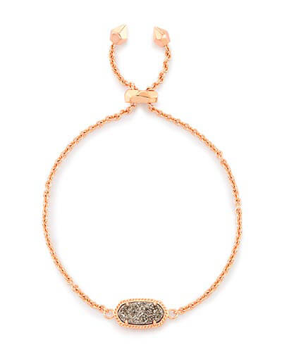 Elaina Rose Gold Adjustable Chain Bracelet in Platinum Drusy