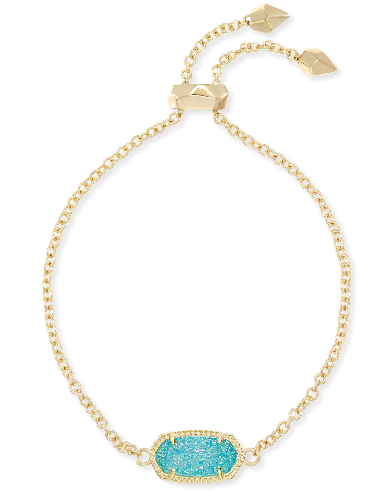 Elaina Gold Adjustable Chain Bracelet in Teal Drusy