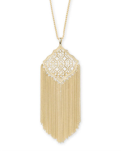 Kingston Gold Long Pendant Necklace in Gold Filigree Mix