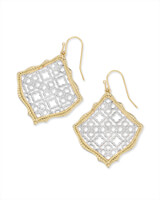 Kirsten Gold Drop Earrings in Silver Filigree Mix