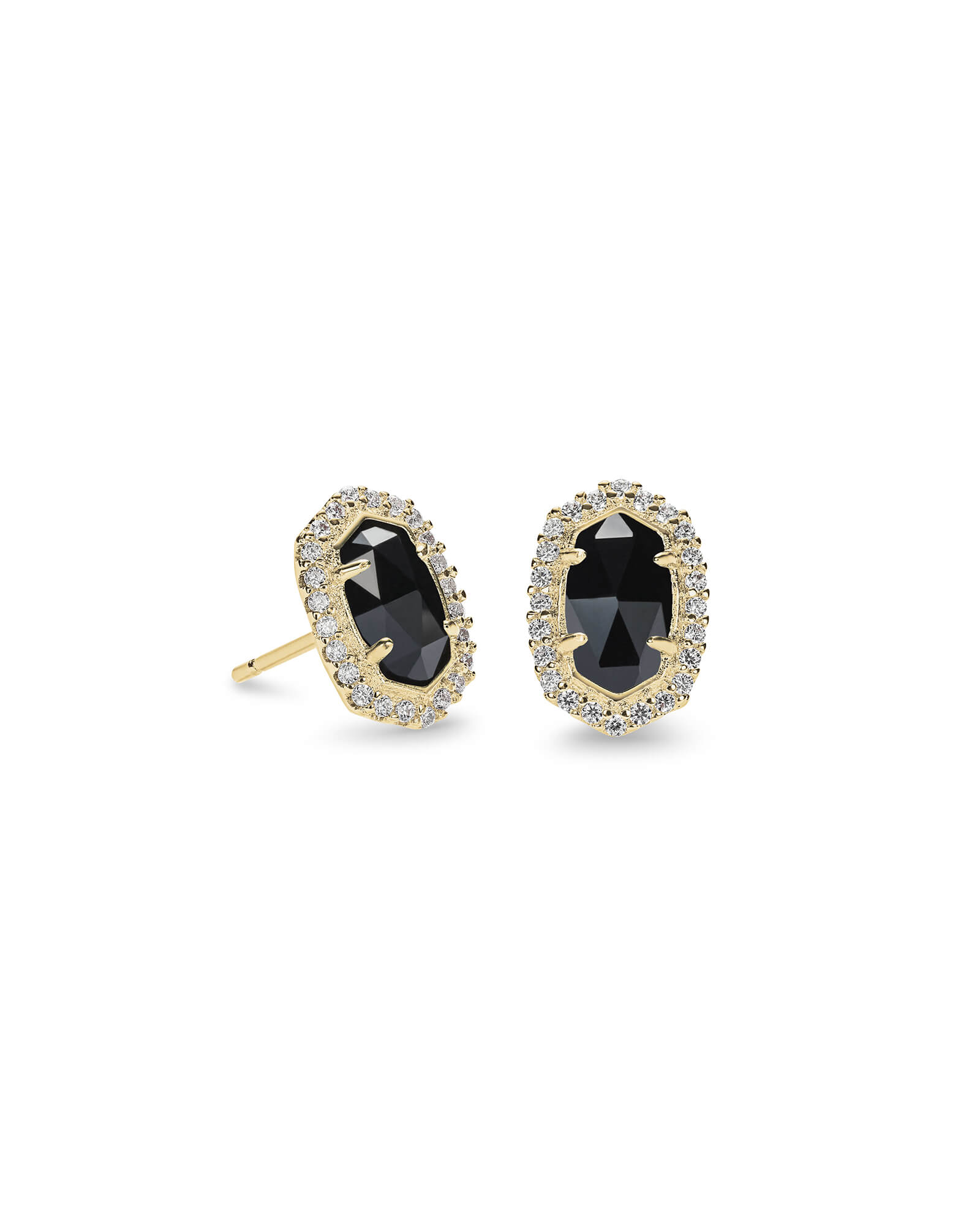 Cade Gold Stud Earrings in Black