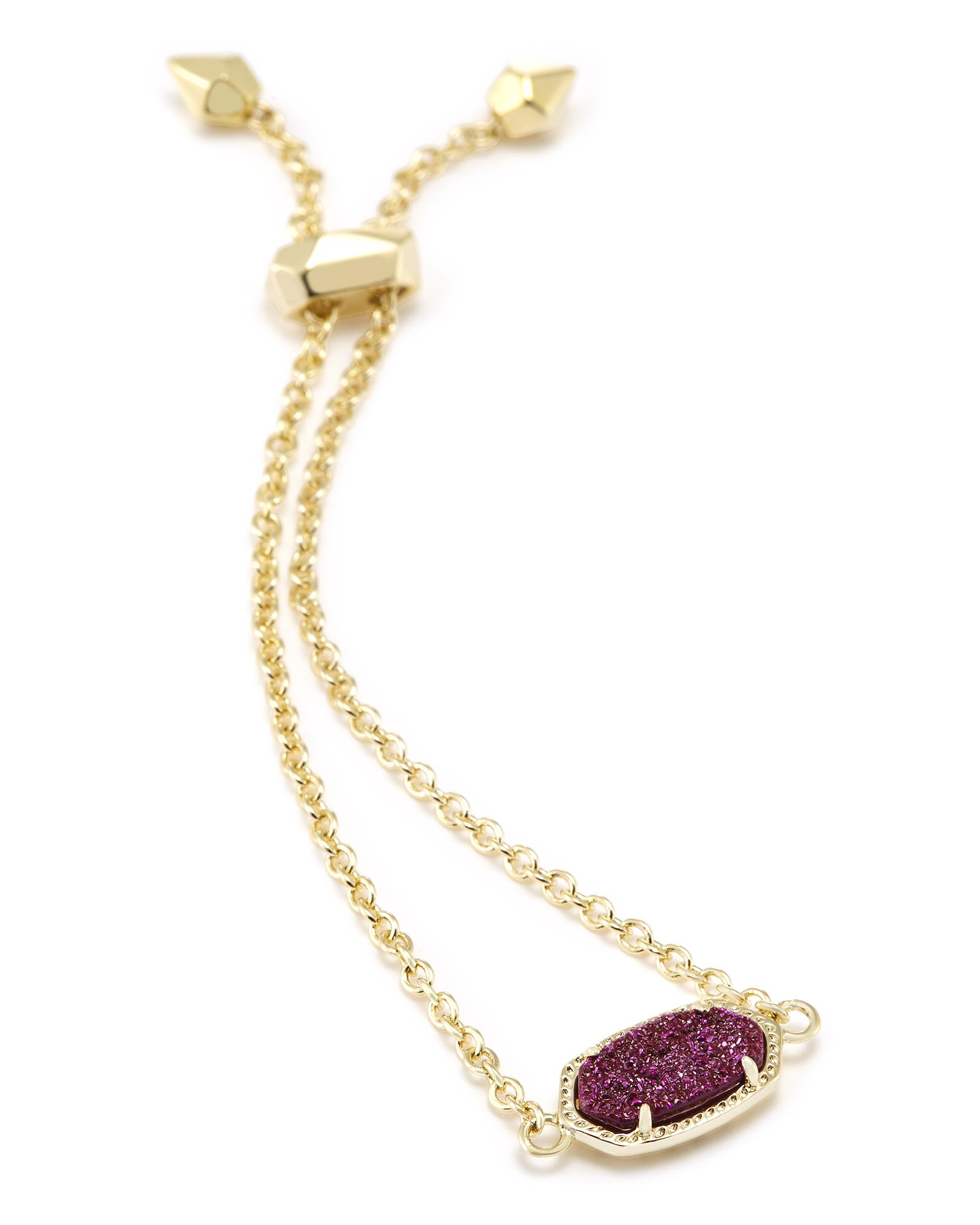 Elaina Adjustable Chain Bracelet in Fuchsia Drusy
