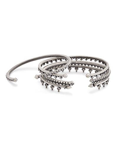 Delphine Pinch Bracelet Set in Antique Silver