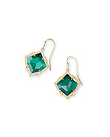 Kyrie Gold Drop Earrings in Emerald Cat's Eye