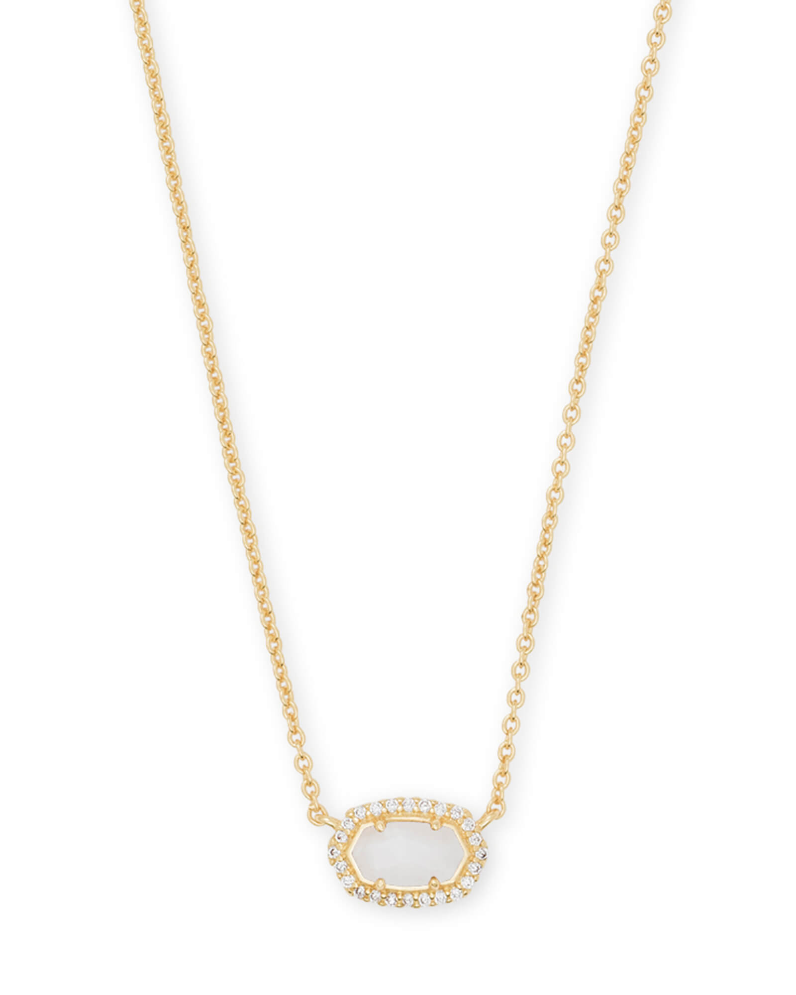 Chelsea Gold Pendant Necklace in White Pearl