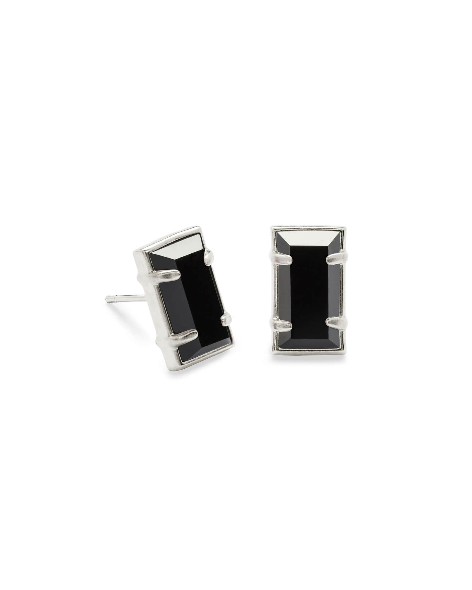 Paola Silver Stud Earrings in Black Opaque Glass
