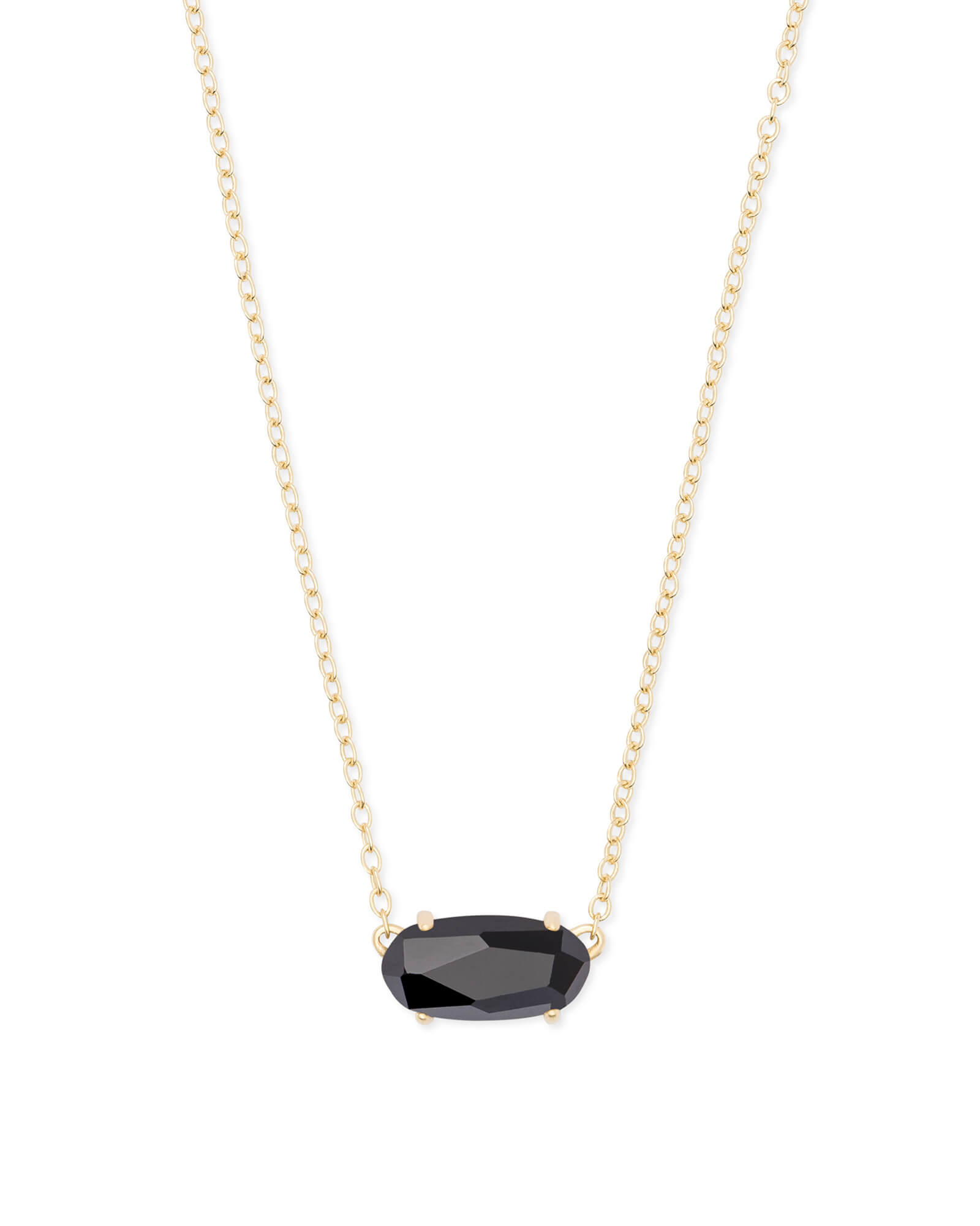 Ever Gold Pendant Necklace in Black Opaque Glass