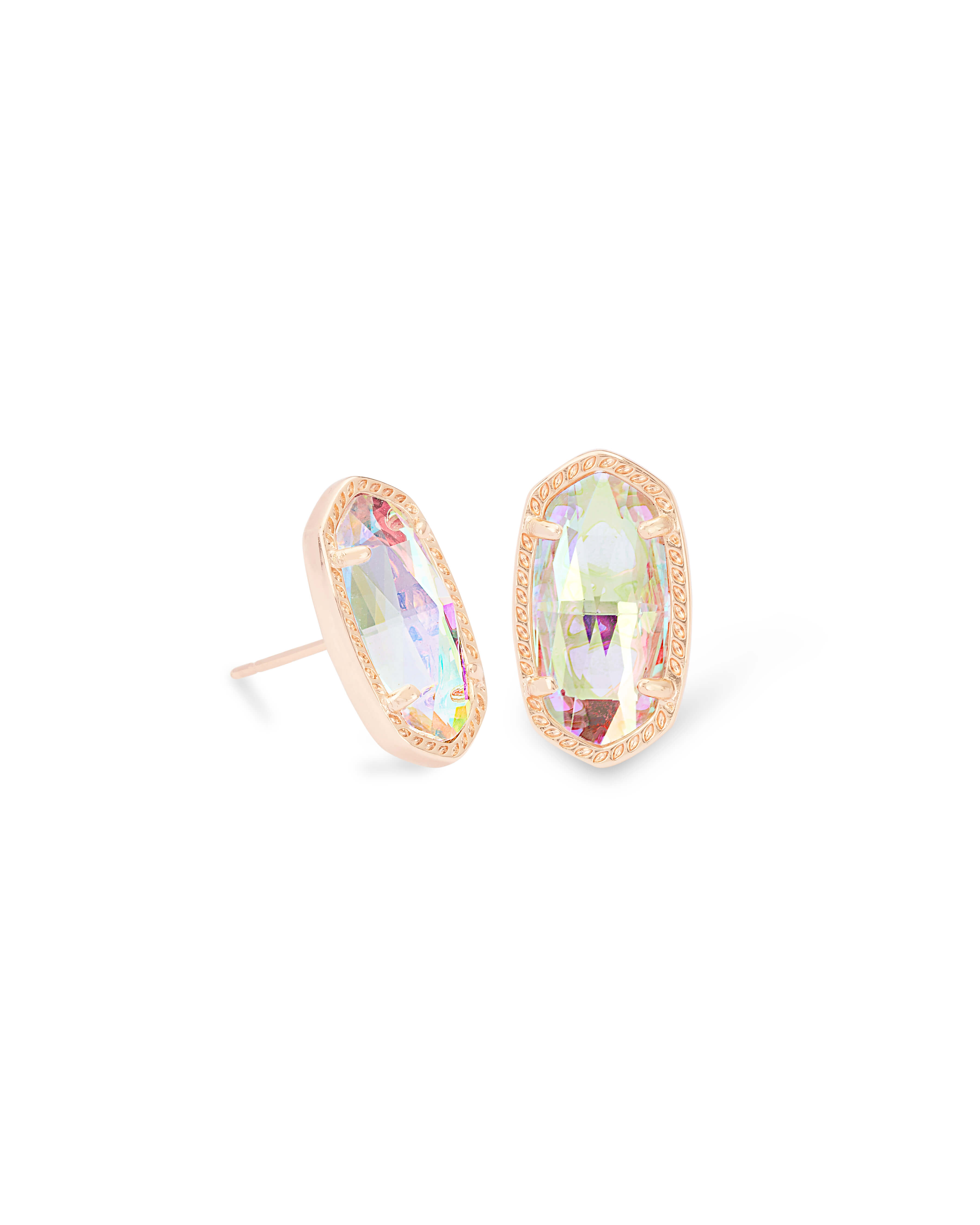 Ellie Rose Gold Stud Earrings in Dichroic Glass