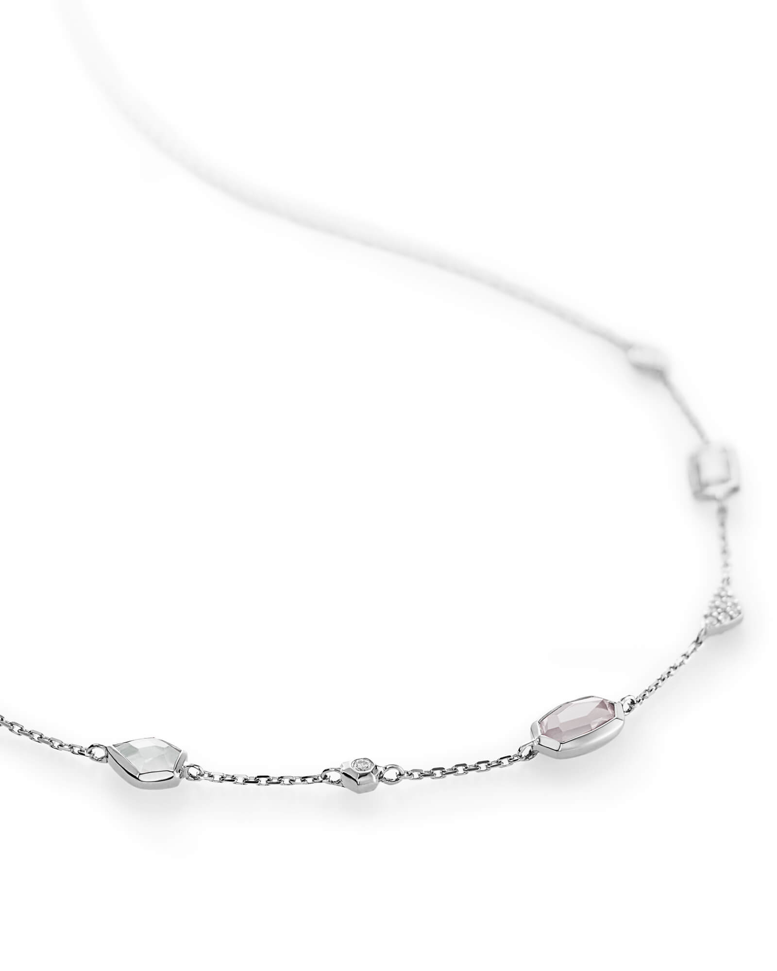 Alina Choker Necklace in Neutral Gemstone Mix and 14k White Gold