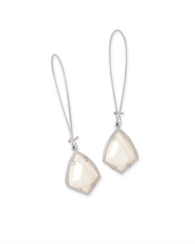 Carinne Silver Drop Earrings in White Pearl