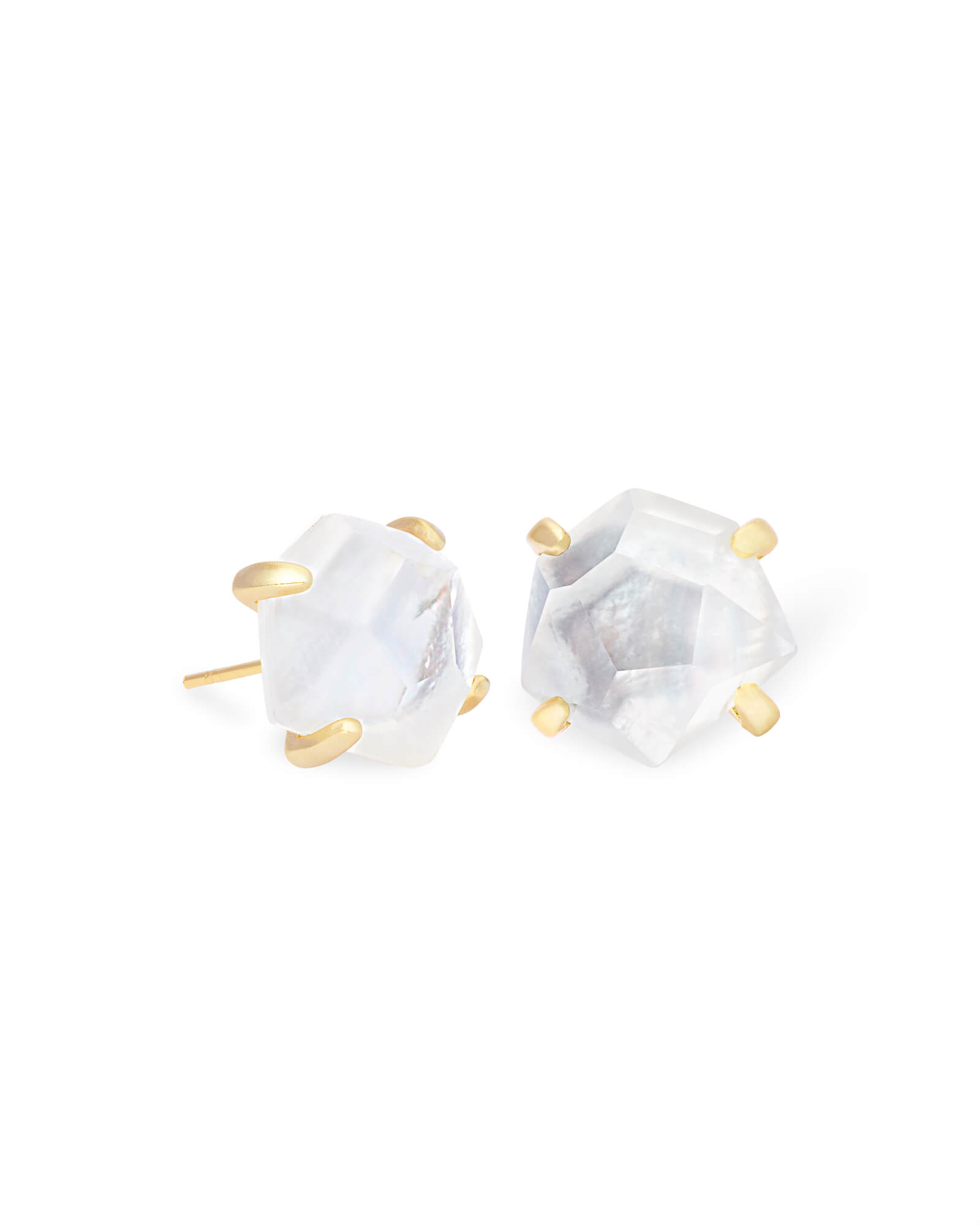 Ellms Gold Stud Earrings in Ivory Mother-of-Pearl