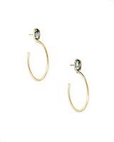 Small Pepper Gold Hoop Earrings in Nude Abalone