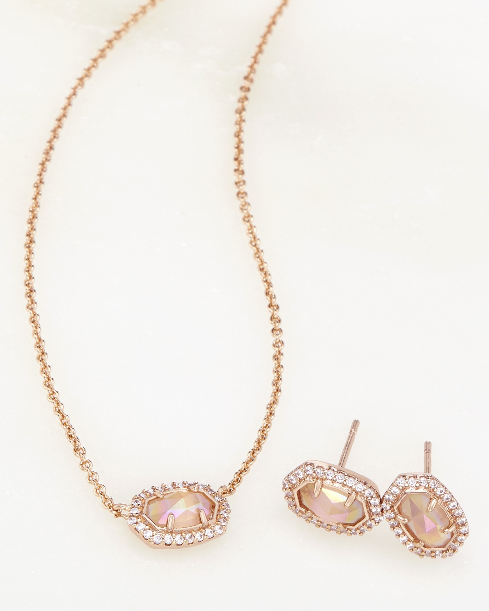Cade Earrings Chelsea Necklace Rose Gold Set Kendra Scott