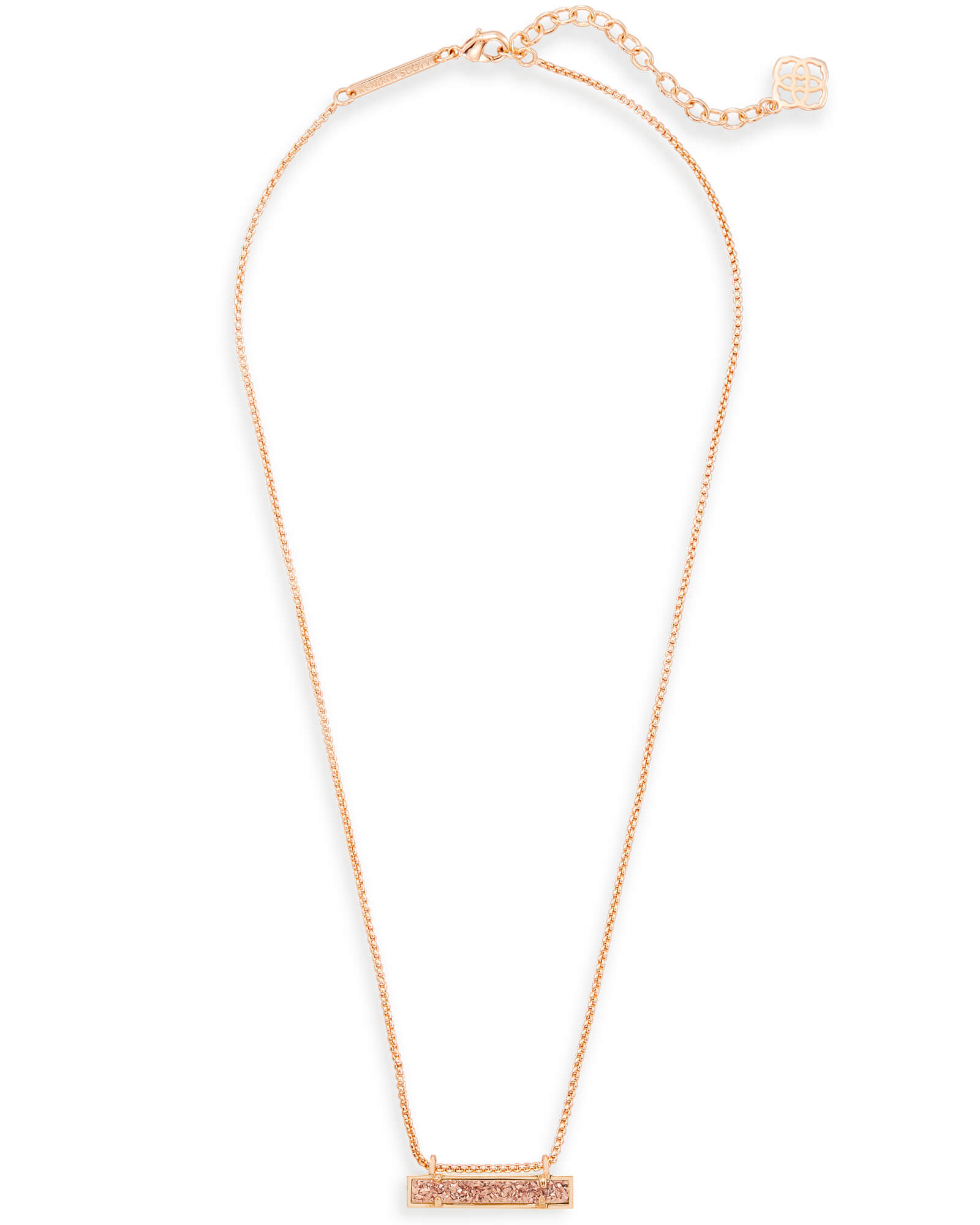 Leanor Bar Pendant Necklace in Rose Gold Drusy