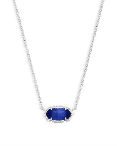 Elisa Silver Pendant Necklace in Cobalt Cats Eye