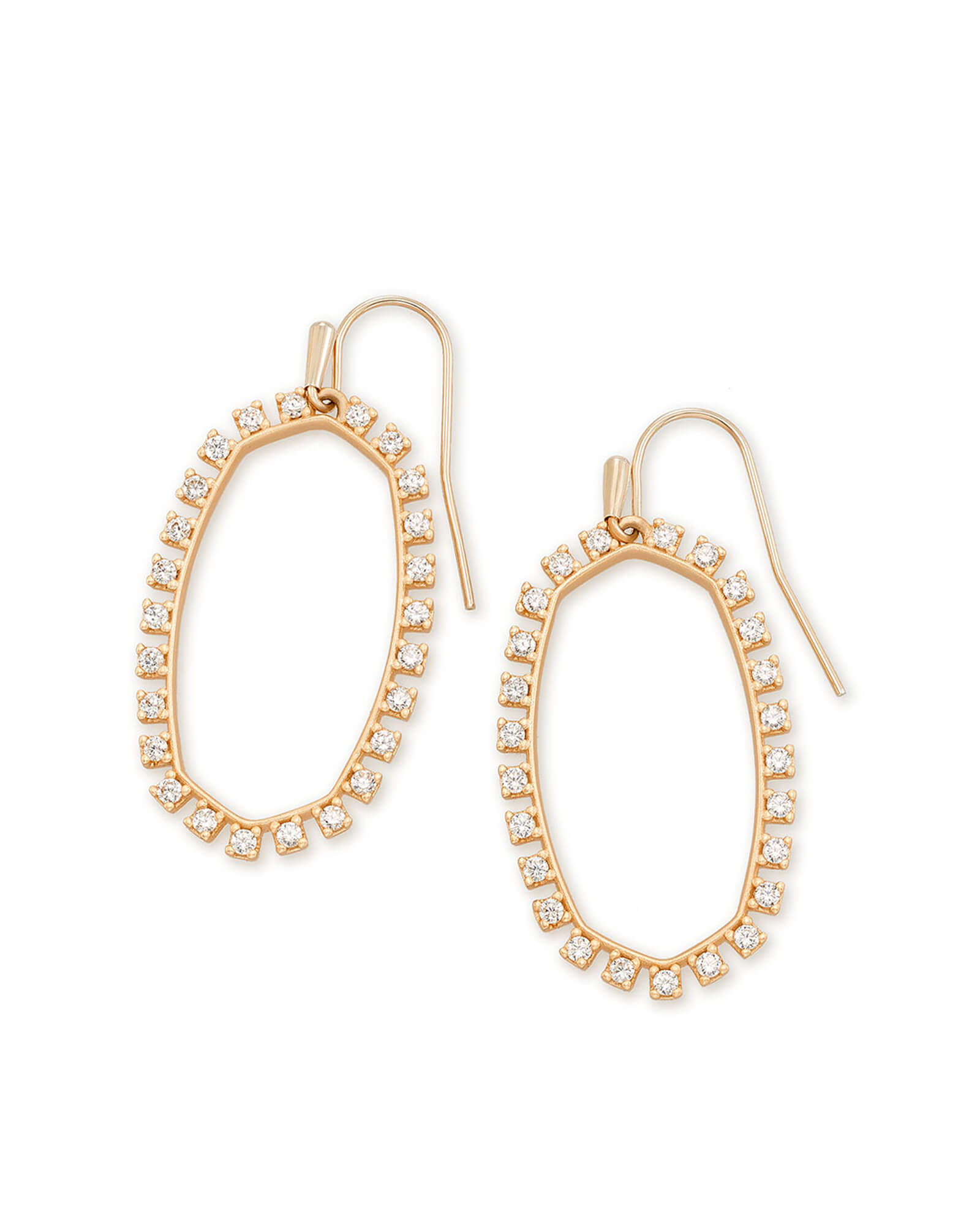 Elle Open Frame Crystal Drop Earrings in Rose Gold