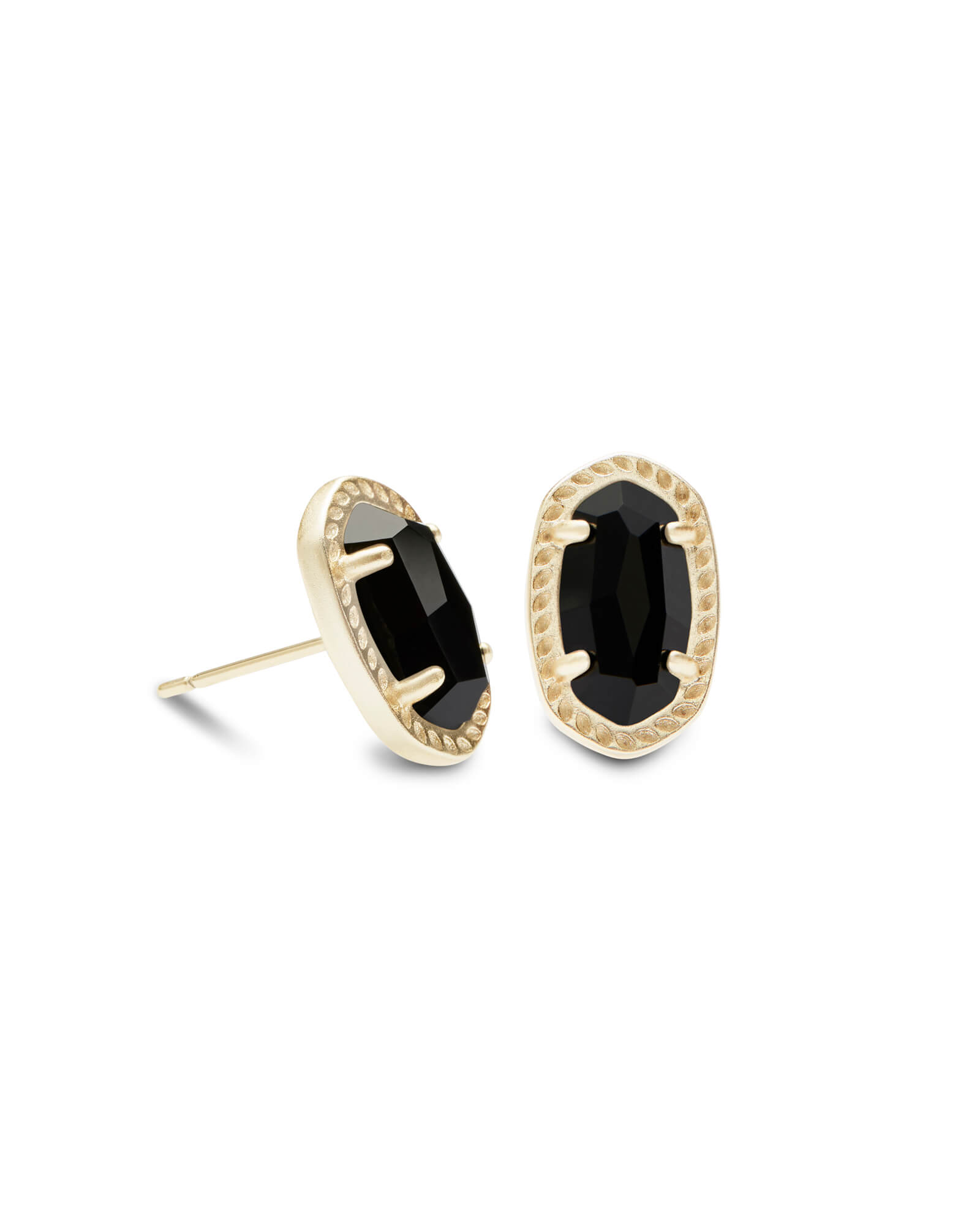 Emery Gold Stud Earrings in Black Opaque Glass
