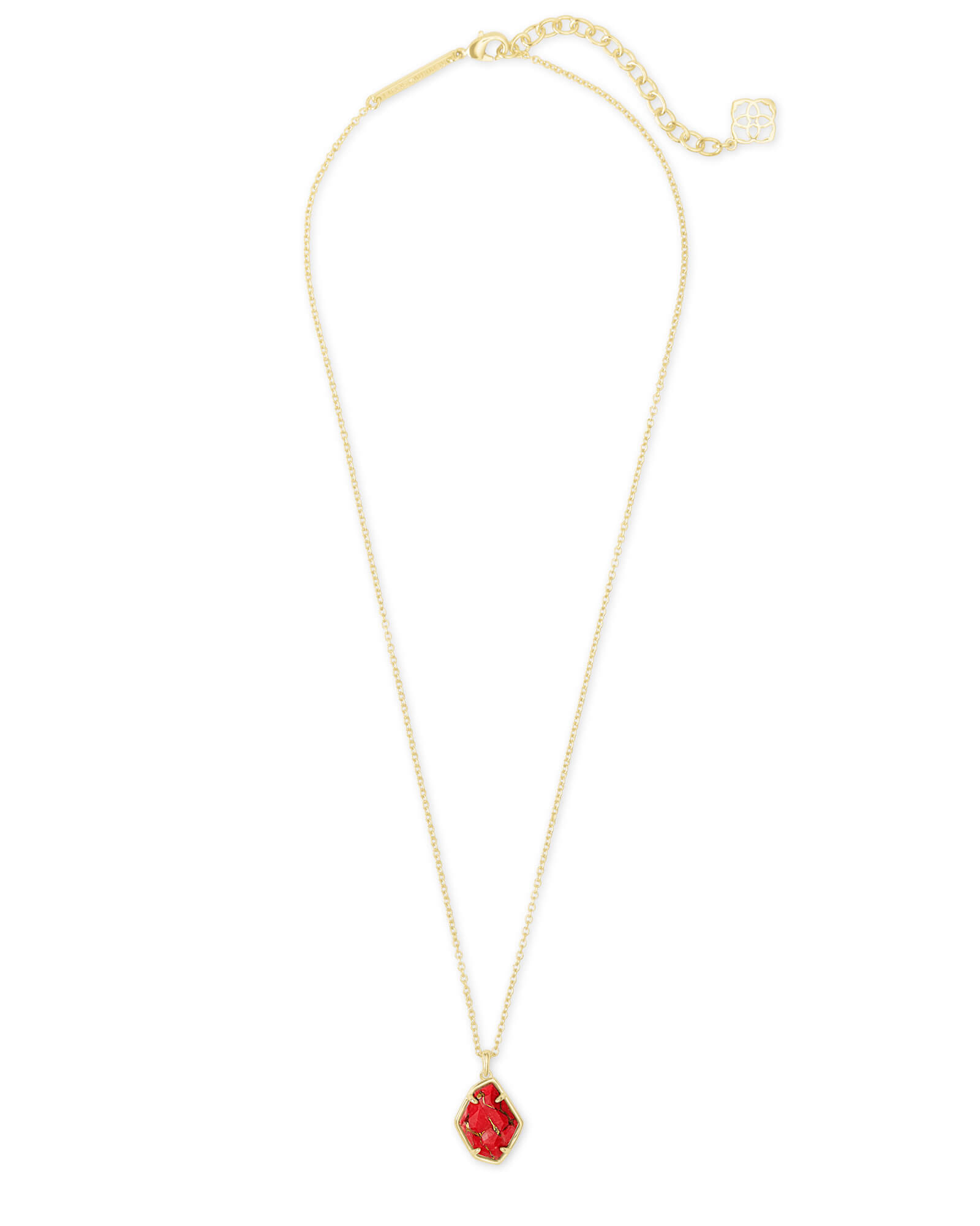 Ellington Gold Pendant Necklace in Bronze Veined Red Magnesite