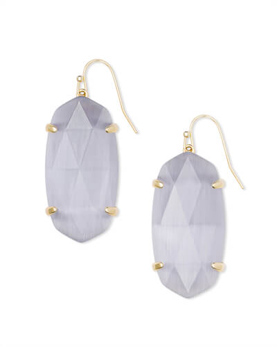 Esme Gold Drop Earrings In Slate Cats Eye