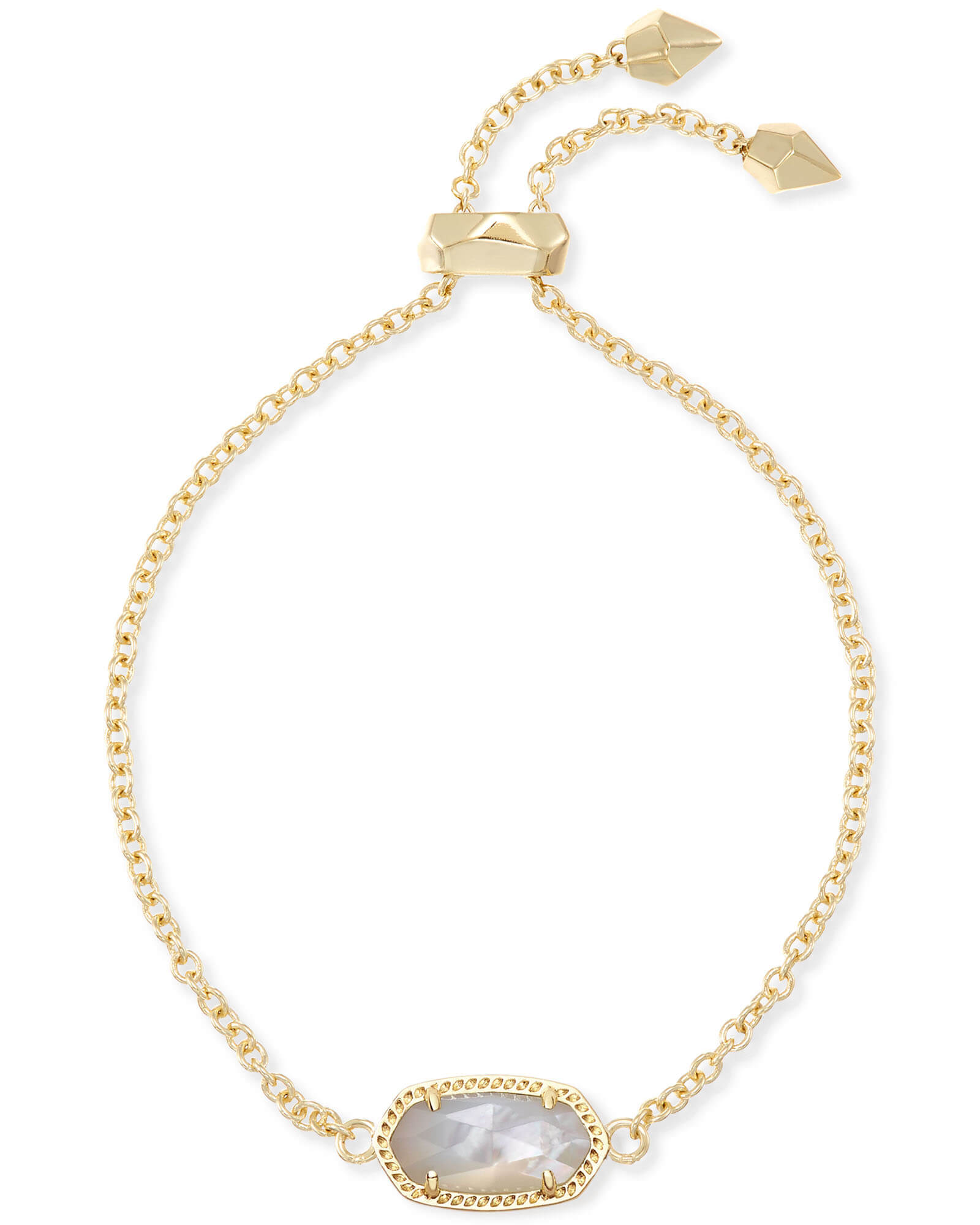 Elaina Gold Adjustable Chain Bracelet in Ivory Pearl