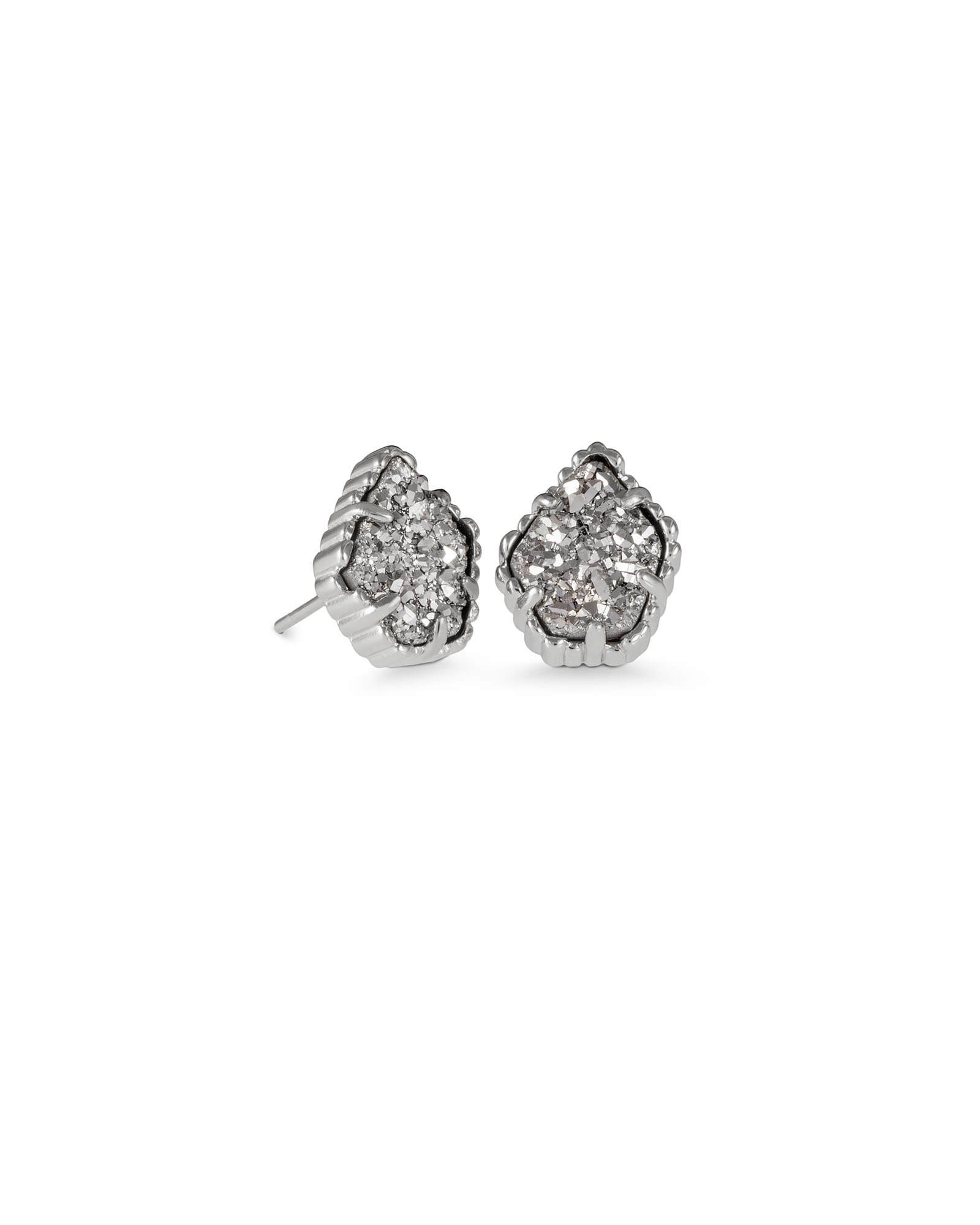 4082294e5 Tessa Silver Stud Earrings in Platinum Drusy | Kendra Scott
