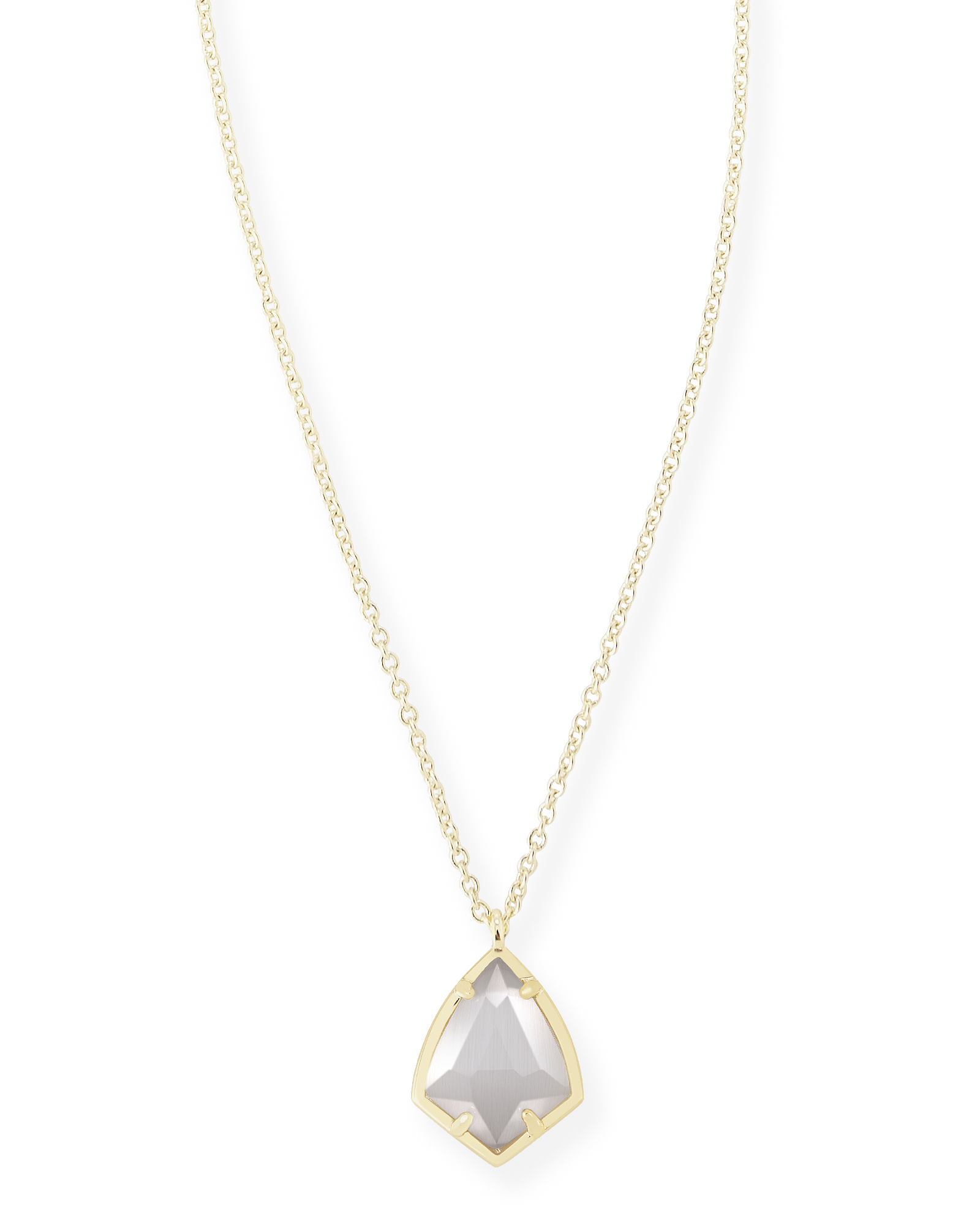 Cory Gold Pendant Necklace in Slate