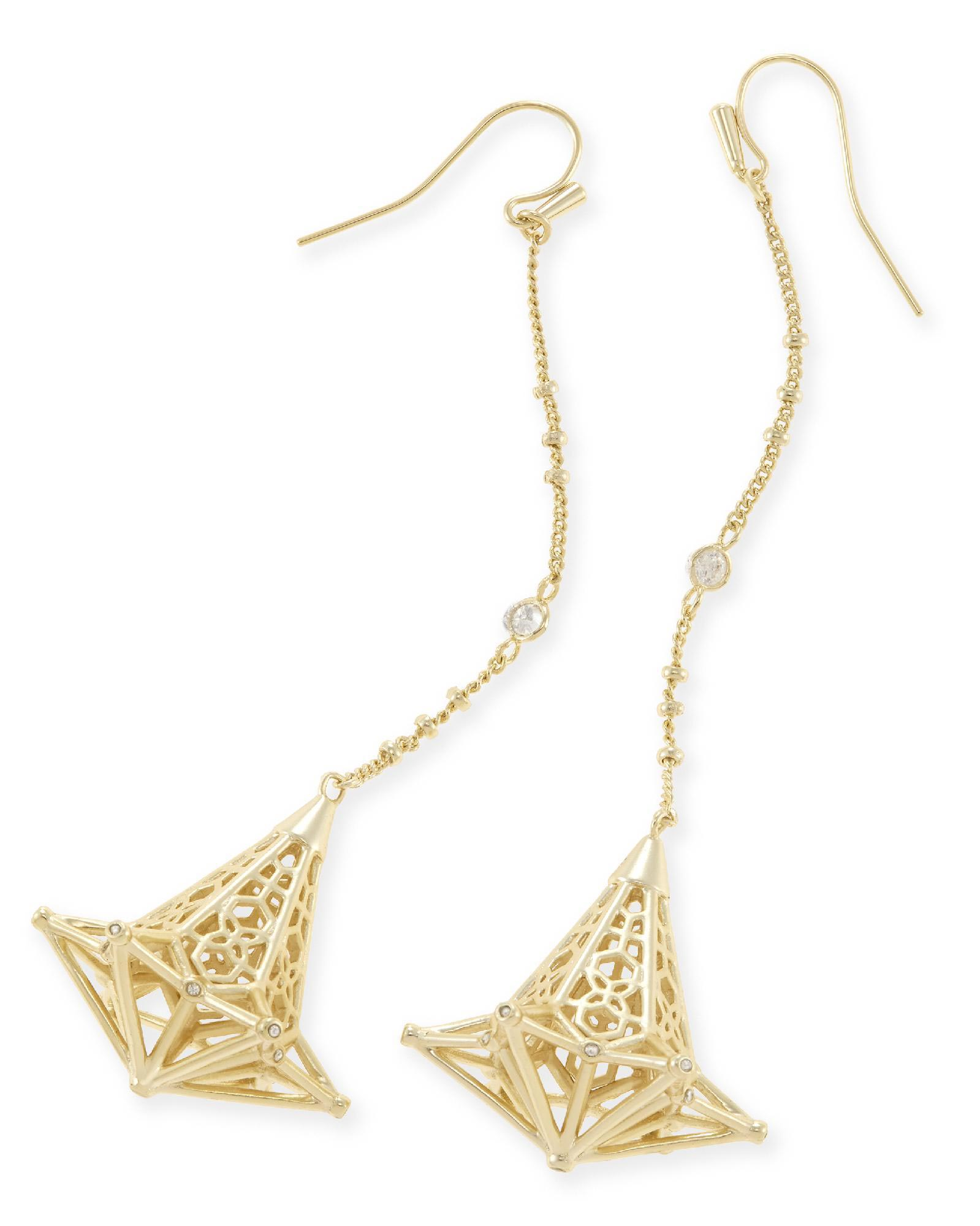 Diana Shoulder Duster Earrings in Gold