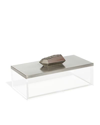 Rectangular Acrylic Box in Platinum Drusy